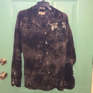 Black gray white button down shirt with graphics